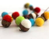 Felted Acorns. Wool Ball Ornaments. Woolen Acorns. Set of 12.