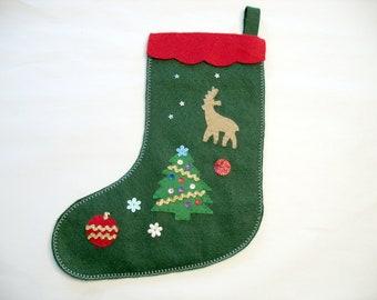 Green Felt Christmas Stocking, Xmas Tree and Reindeer