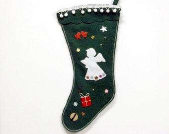 Green Felt Christmas Stocking with Angel