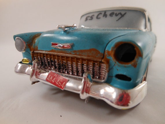 1955 Chevy Bel air 1/24 scale model car two tone in blue and white