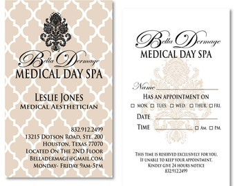 Medical Spa Business Cards / Appointment Cards Customized