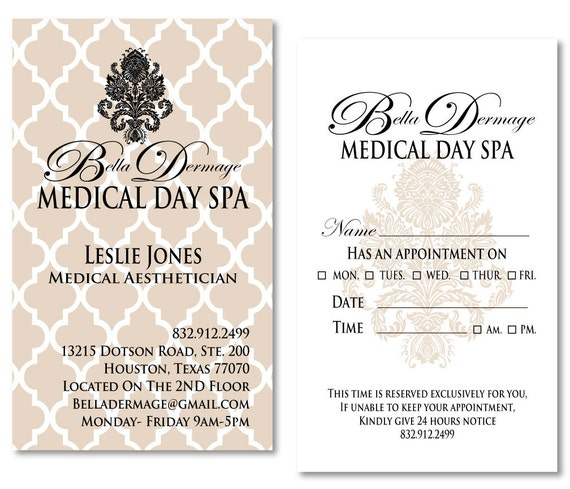 items similar to medical spa business cards appointment cards customized on etsy. Black Bedroom Furniture Sets. Home Design Ideas