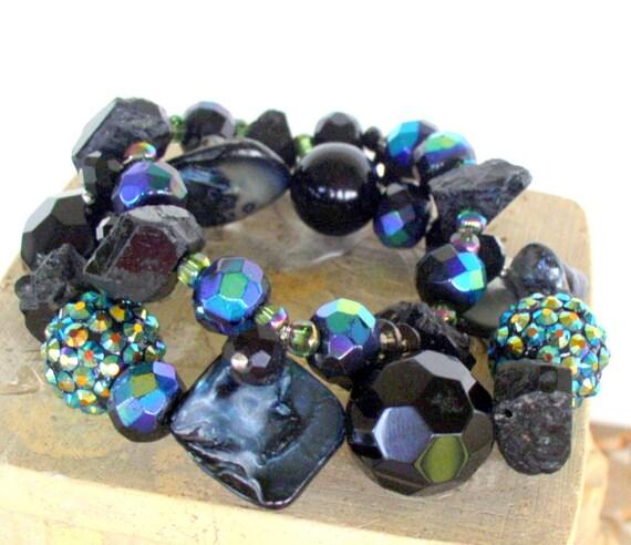 RESERVED Pair of Chunky Black Beaded Stretch Bracelets