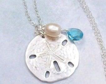 Silver Sand Dollar Necklace, Tropical Necklace, Sand Dollar Charm Necklace, sterling silver, matte, freshwater, Swarovski crystal