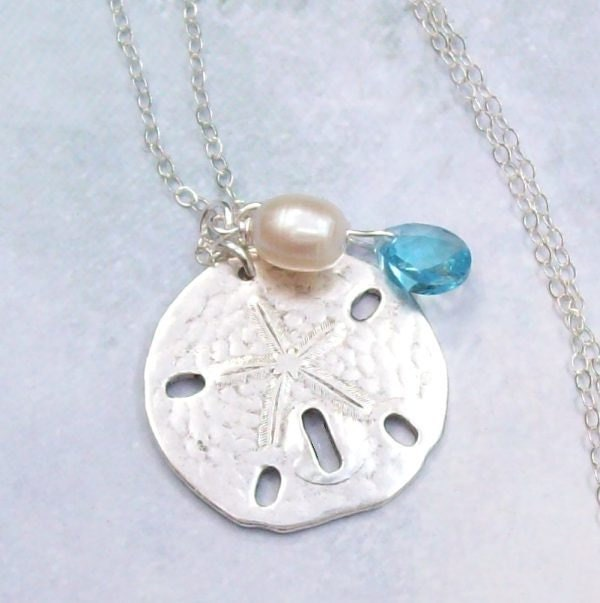 Silver Sand Dollar Necklace Tropical Necklace Sand Dollar
