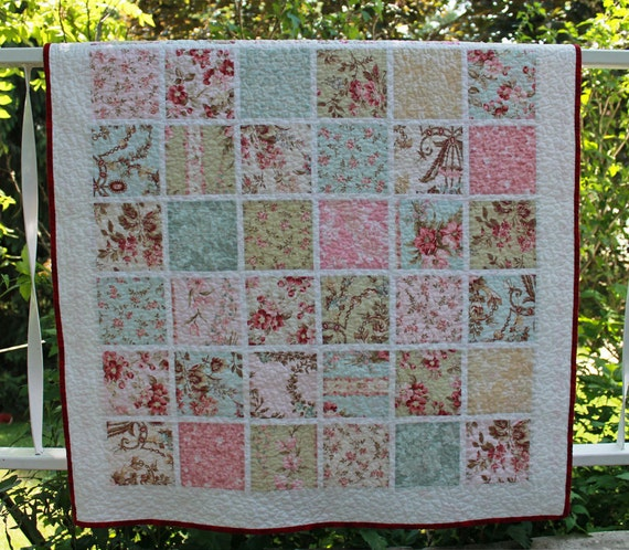 Baby Girl Quilt, Toddler Quilt, Lap Quilt in Soft Pastels, OOAK