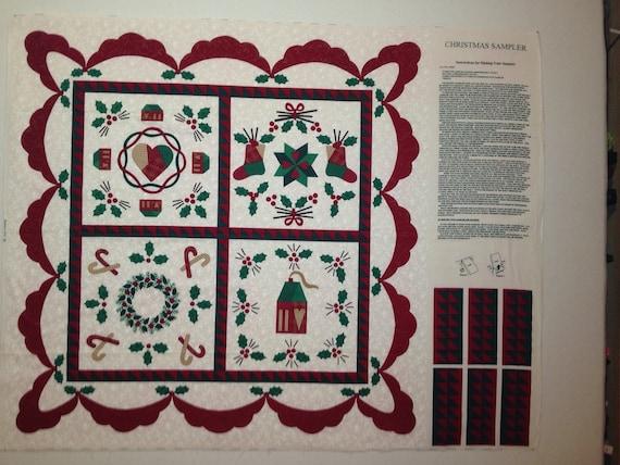 Price reduced - Christmas Sampler Fabric Panel - OOP