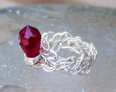 Ring Size 7 - .925 ARGENTIUM STERLING SILVER and Red Siam Swarovski Crystal