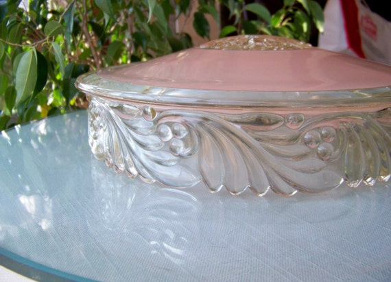 Vintage CEILING LIGHT SHADE Fixture - Pink Molded Glass Round with Floral Design