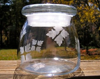 Glass Vibe Jar With Hand Etched Leaves