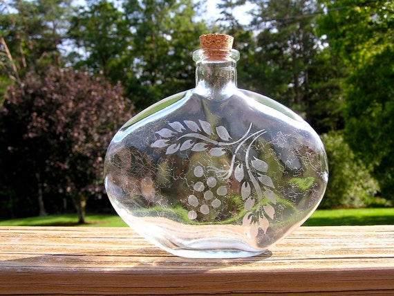 Round Glass Bottle With Hand Etched Grape Design