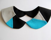 Geometric Turquoise Blue Grey Black Handmade Mosaic Detachable Peter Pan Collar Necklace Must Have On Trend Accessory Col Claudine Amovible