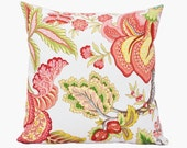Reserved for Catherine - Floral Multicolor Pillows - Coral, Off White, Green, Pink, Yellow - 16x16 inches, Coral Pillow, Pink Pillow