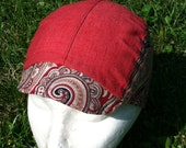 Paisley and Red Cycling Cap