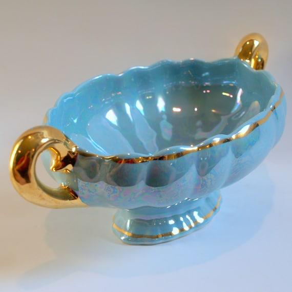 ANTIQUE SERVINGWARE DISH Vintage Jardiniere Lusterware Handled Porcelain Compote Bowl Gold Gilt Centerpiece on Footed Blue Pedestal