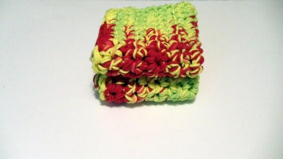 Peace - Crochet Dish Cloth Hot Pad  Pot Holder Wash Cloth Cotton set of two