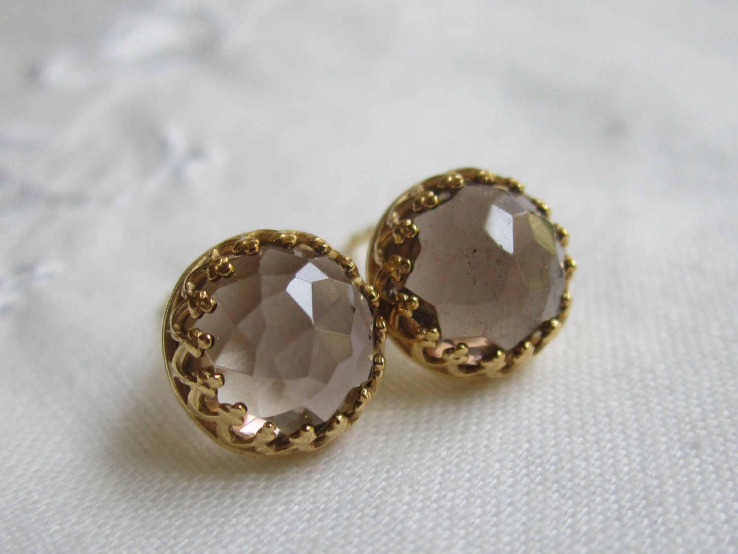 Smokey quartz stud earrings smokey quartz post earrings 18k