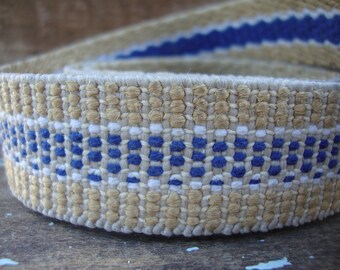 Vintage Blue and Natural Jute Webbing