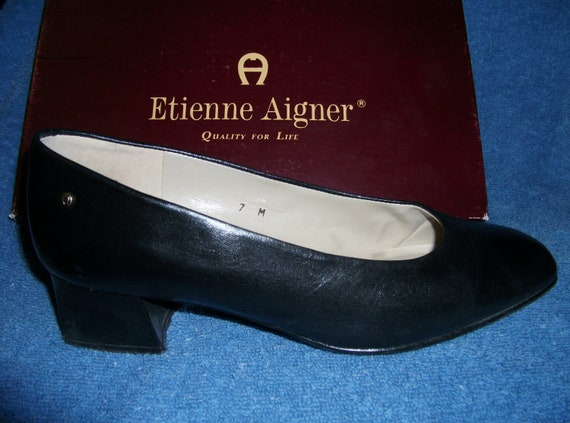 Vintage Ladies Leather Pumps by Etienne Aigner with 1 1/2 Inch Heel Size 7 Only 10 USD