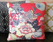 Decorative throw pillow, pink coral floral pillow - pillowflightpdx
