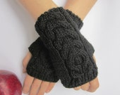 pure merino arm warmers black mittens fingerless gloves warm soft christmas gift choose color