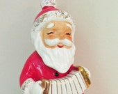 1950's Ceramic Santa Claus Playing Concertina Singing Music Collectible Figurine Antique Retro Christmas Decoration Holiday Decor