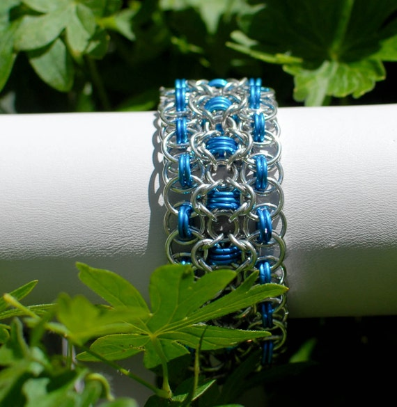 Silver and Blue Rondo a la Byzantine Bracelet Cuff - Ready to Ship - Fast Shipping