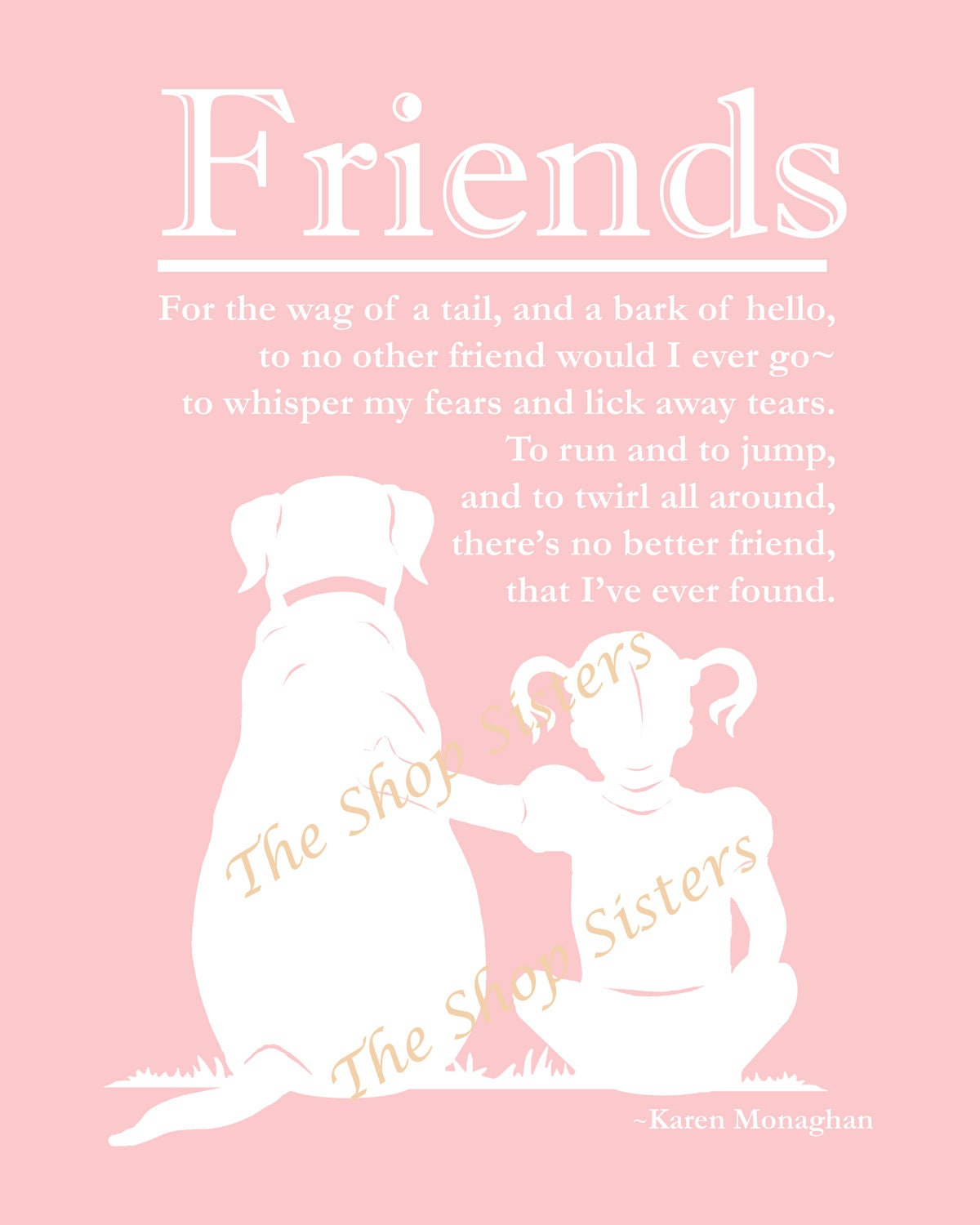 girl and dog poem friend silhouette pink and white 8 x 10