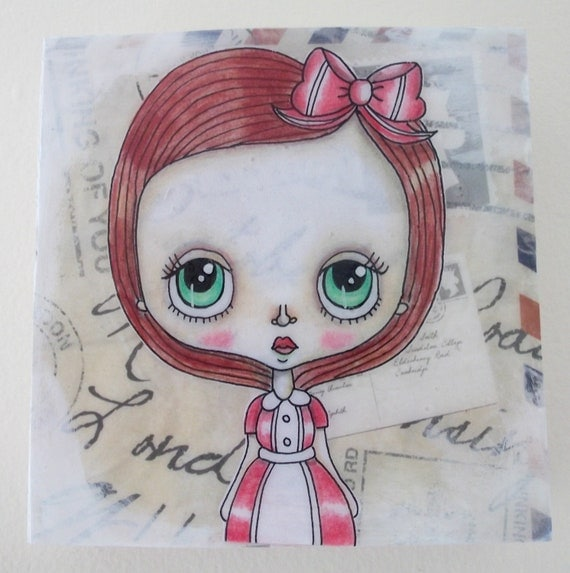 SALE Cute Girl Original Painting on Wood Block