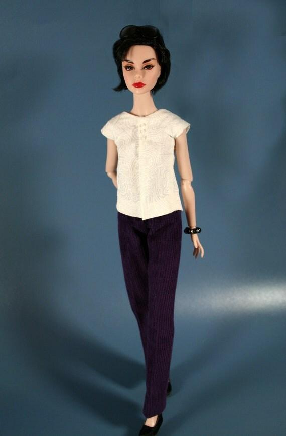 White Blouse & Purple Corduroy Pants