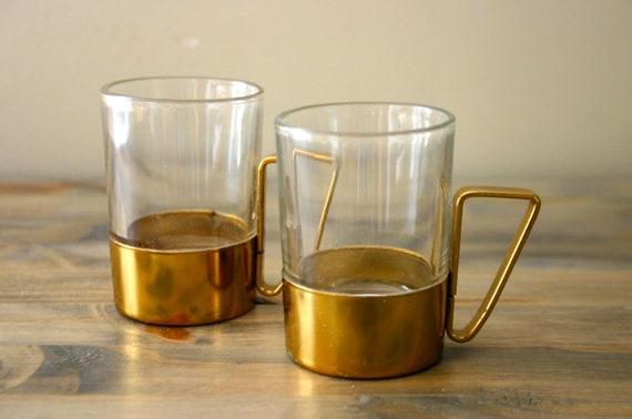 Pair of Brass Encased Espresso Cups