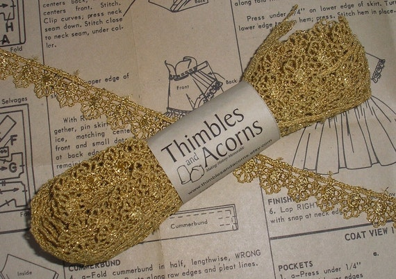 Item 034 - 5 yards 1/2 inch Metallic Gold Venice Lace