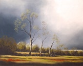 Original landscape painting of trees in afternoon storm - Soft Pastel painting 16x20 inch