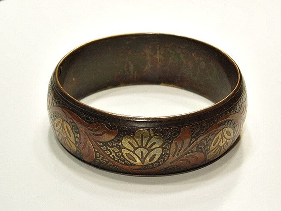 Vintage Copper Bangle Bracelet Copper Brass Goldtone Flower Motif Bracelet