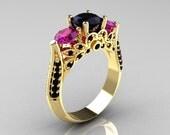 Classic 14K Yellow Gold Three Stone Black Diamond Amethyst Solitaire Ring R200-14KYGBDAM
