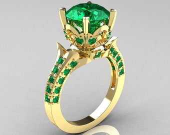 Classic French 14K Yellow Gold 3.0 Carat Emerald Solitaire Wedding Ring R401-14KYGE