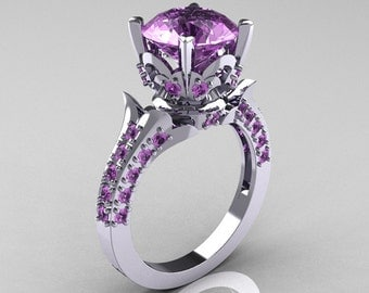 Classic French 18K White Gold 3.0 Carat Lilac Amethyst Solitaire Wedding Ring R401-18KWGR