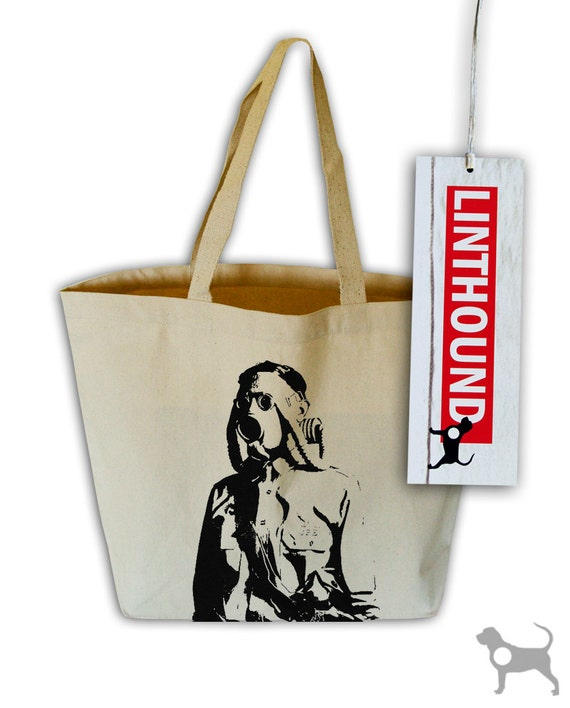 Gas Mask Soldier Natural Canvas Grocery Tote Bag