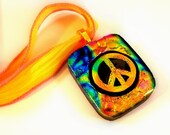 Rainbow Peace Sign Dichroic Fused Glass Pendant