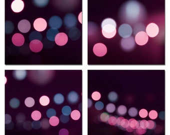 abstract photography bokeh abstract light photography dorm room decor purple pink 5x5 inch print set photography light photography wall art