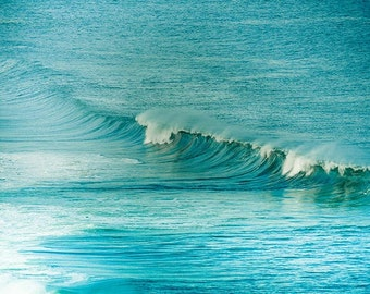 Ocean photography nautical decor waves breaking beach photography 8x10 24x36 teal art print surf photography wall art blue summer
