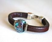 Brown leather bracelet, handcrafted lampwork glass bead , blue, red, purple, gift