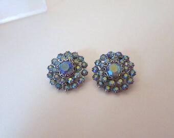 Earrings ,Weiss Blue Rhinestones