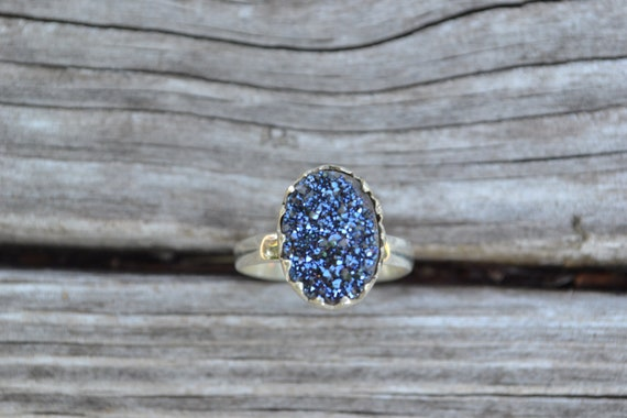 ON SALE Midnight Titanium Druzy Sterling Silver Ring Size 8.5