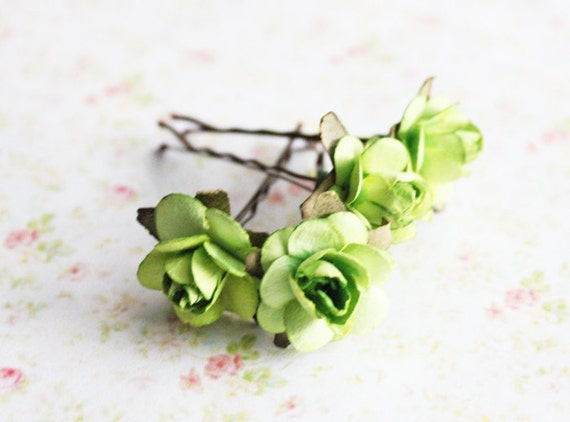 Green Roses Paper Flower Hair Pins. Woodland. Pistachio Hair Pins. Whimsical. Romantic. Fall. Autumn Weddings. Hair Accessories