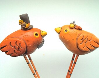 Pumpkin Spice Fall Birds in Love Wedding cake topper