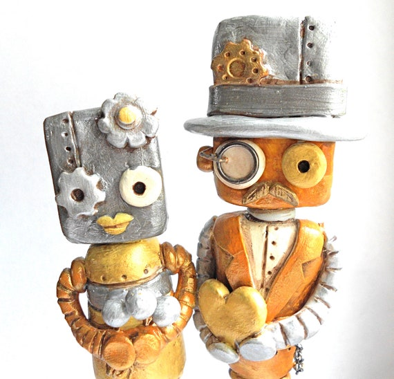 Metallic Steampunk Robots in Love Wedding Cake Topper on Gear Base