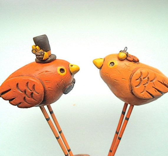 Pumpkin Spice Fall Birds in Love Wedding cake topper