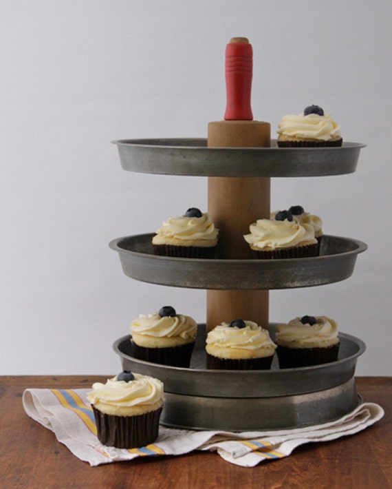3 Tier Cupcake Stand from Repurposed Vintage Materials