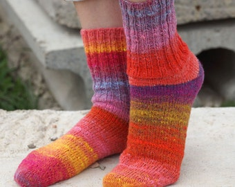 Hand knit women wool Socks colorful stripes autumn fashion red pink Noro